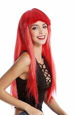 Perruque Pour Femme Halloween Carnaval long lisse Pony rot Discothèque Glam