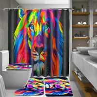 Lion Bathroom Waterproof Polyester Shower Curtain Toilet Seat Cover Mat Rug Set