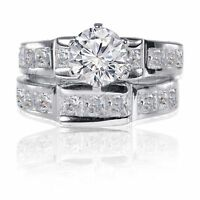 Brilliant Round Princess CZ Engagement Genuine Sterling Silver Ring Set