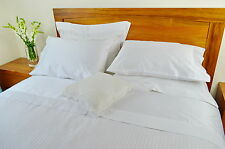 Queen Bed Fitted Sheet+Quilt Cover Set 1000TC Pure Cotton White (Plain&Stripe)