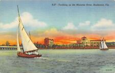 Bradenton, Florida Fl Yachting~Manatee River Sailboats ca1940's Postcard