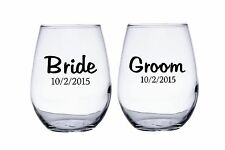 Bride and Groom Personalized Wedding Date Stemless Wine Glasses