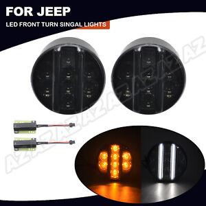 2X White LED DRL Light Amber Turn Signal Lamp Smoked For Jeep Wrangler JK 07-17