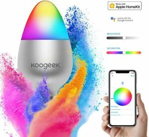 Koogeek Smart LED Light Bulb 16 Million Colors Dimmable Works With Apple Homekit