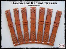 Cinturini artigianali in cuoio modello Racing 20-22mm. Vintage leather straps
