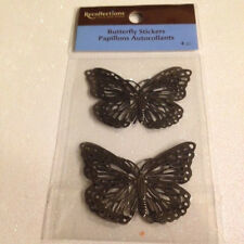 4 PIECES 3D SILVER GRAY METAL Recollections BUTTERFLIES METAL BUTTERFLY STICKERS