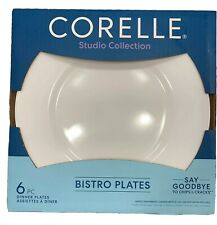 """Corelle Bistro Studio Collection 11""""rimmed Glass Dinner 6x Plate G1"""