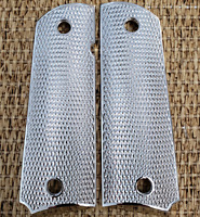 Custom COLT 1911/45 FULL SIZE Metal Grips Nickel DOUBLE DIAMOND CHECKERED GRIPS