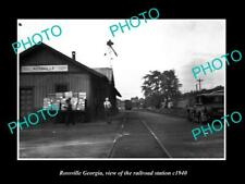 OLD POSTCARD SIZE PHOTO OF ROSSVILLE GEORGIA THE RAILROAD STATION c1940
