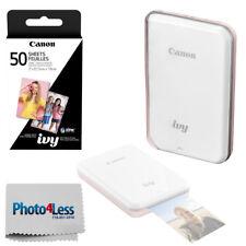 Canon IVY Mini Mobile Photo Printer (Rose Gold) + Zink Photo Paper 50 + Cloth