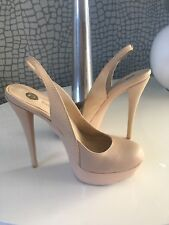 River Island Stunning Nude Snakeskin Leather High Heel Shoes Size 5