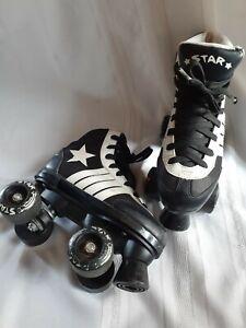 Star Roller Skates from Epic Skates, Black & White, Kids Size 2