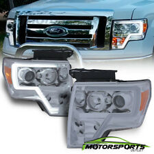 [LED Tube Bar] 2009-2014 Ford F-150 Pickup Truck Chrome Projector Headlights Set