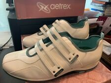 AETREX ABBEY White Leather Double Strap Turquoise Trim Size W 11.0 NEW IN BOX