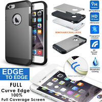 iPhone 6 6s Grey Dual Layer Armor Case Hybrid Slim Cover 3D Full Tempered Glass