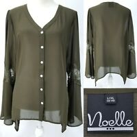 Noelle Womens Large / XL Dark Green Lace Inset Sleeve Sheer Polyester Blouse Top