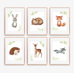 Woodland Animal Nursery Art Prints Set Childrens Bedroom Pictures Decor Girl Boy