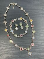 Vtg Premier designs Necklace Bracelet Earring Set Glass Multi Color Rhinestone