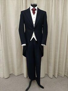 Men's Navy Morning Tail Coat, Ideal for Wedding Formal Wear, Prom, Fancy Dress.