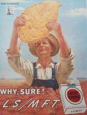 Lucky Strike Cigarettes Golden Leaf Tobacciana Art WW2 1945 Vintage Print Ad