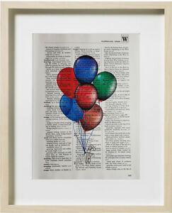 BALLOONS Dictionary Art Print  Page Wall Decor Home Office Decoration