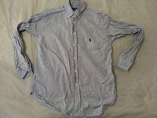 Boys Polo Ralph Lauren Dress Shirt M Medium 10 12 Green Plaid Cotton Long Button