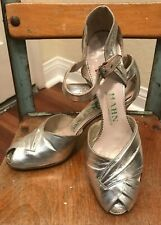 Vtg 40's 50's Vintage Silver Lame Peep Toe Pin-up Shoes 5.5 N 1940s 1950s Vlv