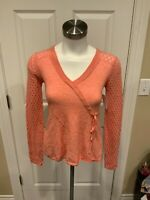 Rosie Neira Anthropologie Coral Pink Wool V-Neck Sweater, Size Small