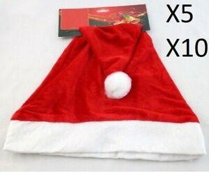 5-10pcs Christmas Xmas Party Plush Santa Claus Hats Adult  Red White Santa Hats