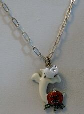 NWOT Ghostly pendant on 22-inch silver chain, Free Shipping!