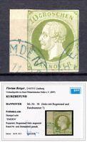 Altdeutschland Hannover 1861 Mi.18 Randnummer gestempelt Kurzbefund Berger BPP