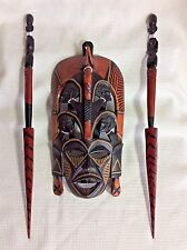 SALE!!!   WOODEN AFRICAN MASK & TWO SPEARS