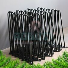 4X HAIRPIN LEGS SET OF - 4 TO 40inch + FREE SCREWS, 2&3 PRONG COLOUR BLACK