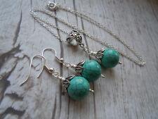 Turquoise Gemstone Necklace Earring Set, Silver Leaf Design, December Birthstone
