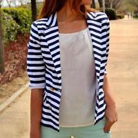 Fashion Women's Stripe Slim Tops Casual Business Blazer Suit Jacket Coat Outwear