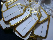 100 Gold foil paper jewelry price tags write on labels & attachment string pt004