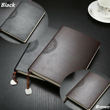 A5 Black Brown Leather Cover Retro Journals Busiess Notebook Diary with Pendant