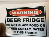 "3.5"" Beer Fridge Warning Label Funny Drink Alcohol Humor Booze Man Cave Sticker"