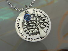 Personalised  Hand Stamped Names Any Wording Tree Of Life Pendant/ Neck
