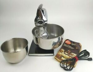 Sunbeam Mixmaster Chrome Black 423A 12 Speed Stand Mixer Tested Mid Century VTG