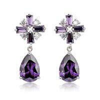 Multi Stone Purple Mystical Amethyst Gemstone Silver Cross Drop Stud Earrings
