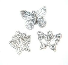 BUTTERFLY Charm MIX ~ 12 charms ~ Antiqued Silver Pl ~ 3 different charms
