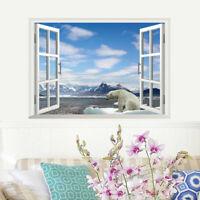 3D Landschaft Eisbär Wandsticker Wandtattoo Eis Winter Fensterbild Wandaufkleber