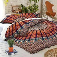 Mandala Quilt Cover Indian Hippie Queen Duvet Doona Cover Bohemian Bedding Set