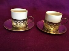 Demi Tasse Espresso Set Of 4 Coffee Cup with Holders Sausers Vtg Silver Plated