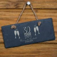 Personalised Slate 30th Anniversary Plaque Gift SL-RC37