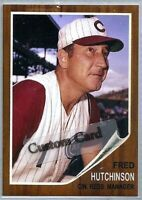 FRED HUTCHINSON CINCINNATI REDS 1962 STYLE CUSTOM MADE BASEBALL CARD BLANK BACK