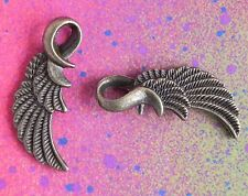 10 Angel Wings Bird Feather Looped Wing Charm Layered Bronze Metal Charms 1""