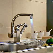 Pull out LED Nickel Kitchen Sink Faucet Mixer Tap Swivel Spout Spray
