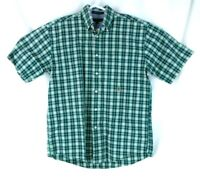Tommy Hilfiger Mens Cotton Button Down Pocket Plaid Check Short Sleeve Shirt M